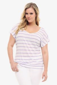 Torrid-White With Purple Stripes Open-Back Tee-$34.50