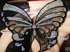 6 unids/lote malla negro con lentejuelas mariposa coser parches parche bordado de Applique ropa de la pasta decoración accesorios de costura en Parches de Casa y Jardín en AliExpress.com | Alibaba Group