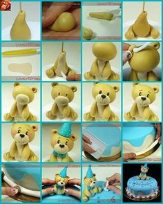 My Sweet Moments: Tutorials für Tiermodelle - # . Fondant Figures, Clay Figures, Cute Polymer Clay, Polymer Clay Projects, Clay Crafts, Teddy Bear Party, Teddy Bear Cakes, Cake Topper Tutorial, Fondant Tutorial