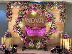 Floral Wreath Décor by Ultima Events-Vijayawada. Naming Ceremony Decoration, Marriage Decoration, Wedding Stage Decorations, Flower Decorations, Cradle Decoration, Indian Baby Showers, Cradle Ceremony, Wedding Backdrop Design, Baby Shower Deco