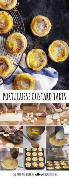 Portuguese custard tarts- Portuguese custard tarts Make classic Portuguese custard tarts Pastéis de Nata with step-by-step help from the olive test kitchen. Dusting the pastry with icing sugar gives the tarts a golden, caramelised crust when cooked - Portuguese Desserts, Portuguese Recipes, Portuguese Tarts, Portuguese Food, Portuguese Custard Tart Recipe, Egg Custard Tart Recipes, Macau Egg Tart Recipe, Natas Recipe, Just Desserts