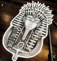 Egyptian Tattoo Sleeve, Leg Sleeve Tattoo, Tattoo Sleeve Designs, Tattoo Designs Men, Egypt Tattoo Design, Tattoo Design Drawings, Tattoo Sketches, King Tut Tattoo, King Tattoos