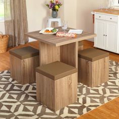 Dining Room Tables For Small Spaces 5 Piece Set Contemporary Style Seat Storage #Generic #Contemporary