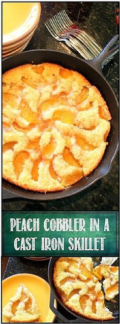 Peach Cobbler in a Cast Iron Skillet. That's the basic recipe for the cobbler. Cup of Sugar, Cup of Flour, Cup of Milk. You can use self rising flour and save adding baking powder and additional salt. Cast Iron Skillet Cooking, Iron Skillet Recipes, Cast Iron Recipes, Cooking With Cast Iron, Skillet Food, Skillet Cake, Skillet Dinners, Skillet Peach Cobbler, Dutch Oven Peach Cobbler