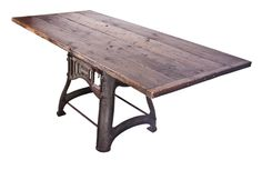 Industrial Table with Victorian Corn Mill Base