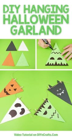 Create an easy paper Halloween hanging garland decoration in just 10-minutes! A perfect budget friendly Halloween decoration! A fun Halloween bunting is a great way to add a cute look to any room. #HalloweenGarland #HalloweenBunting #Halloween #HalloweenDecor #HomeDecor #garland #bunting Halloween Bunting, Paper Halloween, Fun Halloween Crafts, Easy Halloween Decorations, Garland Decoration, Hanging Garland, Diy Hanging, Easy Paper Crafts, Crafts To Make