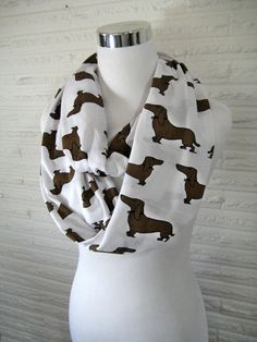 Doxie Dachshund dog Infinity Scarf  Brown Wiener by ChevronScarf