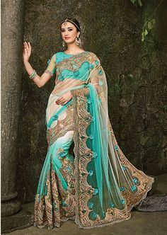 Cream and Aqua Blue Net Over all Sari With Heavy Jarkhan Work and Rose Work Comes with a matching unstitched blouse Indian Wedding Wear, Saree Wedding, Bridal Sarees, Indian Wear, Indian Bridal, Fancy Sarees, Party Wear Sarees, Indian Dresses, Indian Outfits