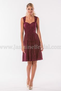 Short bridesmaid dress with sweetheart neckline by Jasmine Bridal.