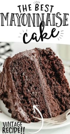 Moist and delicious, this chocolate mayonnaise cake is the perfect addition to a dessert table or celebration. Flour, mayo, and sugar are the basis for this simple mayo cake, which is easy to make from scratch with ingredients you likely already have on hand, so no trips to the store are required! Just Desserts, Delicious Desserts, Yummy Food, Baking Recipes, Cake Recipes, Dessert Recipes, Food Cakes, Cupcake Cakes, Cupcakes