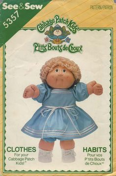 Vintage Doll Clothes Sewing Pattern | Cabbage Patch Kids® Clothes | Butterick See & Sew 5357 | Year 1985 | One Size