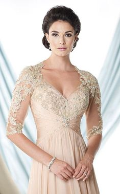 Montage 114923 Sheer Sleeves MOB Dress - French Novelty $480