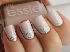 Nude manicure with glitter!