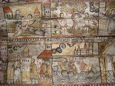Biserica de lemn din Călinești Căeni - Naos (latura de sud) Religious Paintings, Orthodox Christianity, Popular Art, Outsider Art, The Outsiders, Vintage World Maps, Interior, Indoor, Interiors