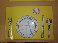 placemat: tafel dekken (eventueel uitbreiding voor het spel in de poppenhoek) *liestr* Art Projects, Projects To Try, Food Themes, Fruit And Veg, Cooking With Kids, Preschool, Stencil, Restaurant, Fun