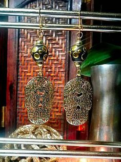 SALE Day of the Day Inspired Gold Sugar Skull Drop Earrings w/Black & Gold Polka Dot Spotted Metallic Beads Pin Up Rockabilly FREE SHIPPING - Only $5.95 on Etsy! https://www.etsy.com/listing/235993796/sale-day-of-the-day-inspired-gold-sugar