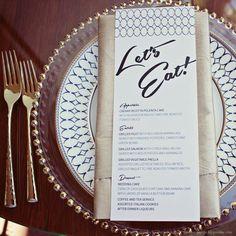 midcentury modern custom designed wedding invitations and menu #weddings #graphicdesign