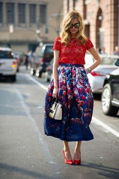 Floral full skirt with red lace top and matching red pumps by Chiara Ferragni - Gorgeous! at KG Street Style
