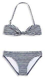 Blauw met wit gestreepte bikini