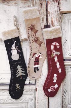 Antique Stockings Wool Applique