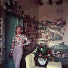 1957Viscountess Harriet de Rosiere at Mougins, photo by Slim Aarons