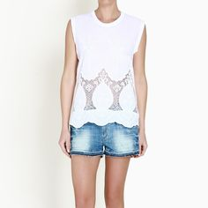 WHITE EMBROIDERED SLEEVELESS TOP #koolfly #twenty29