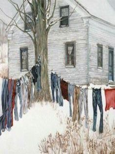 Winter clothes line Mary Cassatt, Billy Jacobs Prints, Laundry Art, Laundry Lines, Vintage Laundry, Carl Larsson, Vincent Van Gogh, Farm Life, Country Life