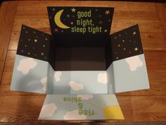Goodnight sleep tight-on this side include things for bedtime Rise and shine-on this side include things like breakfast foods such as pancake mix, muffin mix, oatmeal, cereal, etc. Missionary Care Packages, Deployment Care Packages, Homemade Gifts, Diy Gifts, Care Package Decorating, Soldier Care Packages, Care Box, Box Design, Boyfriend Gifts