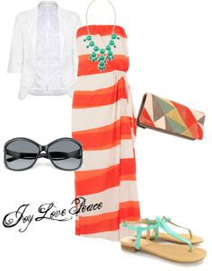 A fashion look from September 2012 featuring stripe maxi dress, white blazer jacket and mint flats. Browse and shop related looks. Hawaii Outfits, Vacation Outfits, New Outfits, Summer Outfits, Cute Outfits, Fashion Outfits, Womens Fashion, Vacation Fashion, Summer Fashions