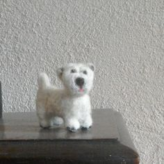 felted Westie dog sculpture by JuliePavittRobinson on Etsy