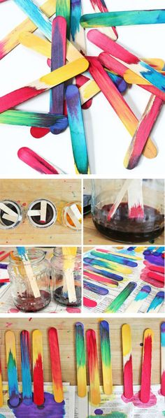 Easy Art & Science for Kids: Make Dip Dyed Craft Sticks and explore color mixing via liquid watercolours (must buy some).  A later post uses these sticks to make a beautiful wreath. -- group art project for auction???