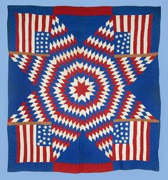flag quilts | 1890's Patriotic Flag Quilt