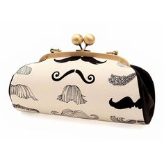 Mustache Clutch with Straps, Black and White Purse, Kiss lock frame... ($45) ❤ liked on Polyvore featuring bags, handbags, clutches, party purses, hand bags, handbags clutches, black and white purse and party clutches