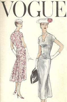 Uncut 1950s Vintage Vogue Sewing Pattern, Slim, Drop Waist Dress, V-Neck, Back Pleat, Vogue 8898, Size 12 on Etsy, $28.00