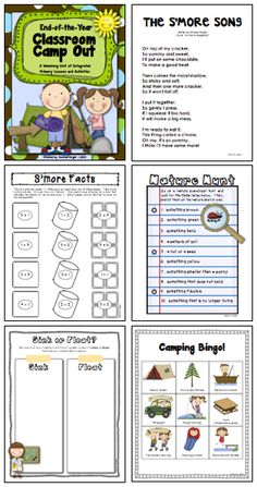 """This end-of-the-year """"Classroom Camp Out"""" is a fun and engaging week-long unit that integrates reading, writing, word study, math, science, and social studies... so you can feel good about having fun (in really smart ways) right up to the end of the school year!  110 pages, $  #endoftheyear  #camping"""