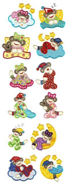 Sleepy Slumber Sock Monkeys Applique designs set available for instant download at www.designsbyjuju.com