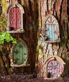 Fairy Garden-Rustic Fairy Doors - Set of Doors-GiftCraft-MyFairyGardens Diy Fairy Door, Fairy Doors On Trees, Fairy Tree Houses, Fairy Garden Doors, Clay Fairy House, Fairy Garden Houses, Fairy Gardening, Gardening Tips, Fairy Crafts