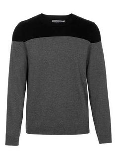 Grey And Black Panel Sweater - Men's Cardigans & Sweaters  - Clothing