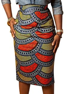 Joeoy Women's High Waist Vintage Printed Midi Pencil Skirt-L – afrocentric clothing for women Trendy Ankara Styles, Ankara Gown Styles, Ankara Gowns, Ankara Dress, Costume Ethnique, Afrocentric Clothing, Ankara Clothing, African Print Skirt, Bodycon