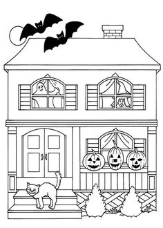 FREE HALLOWEEN COLORING PAGE~  Not-too-spooky haunted mansion for little trick-or-treaters to color.