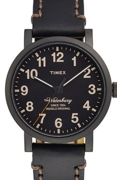 Timex® 'Waterbury' Leather Strap Watch, 40mm available at #Nordstrom