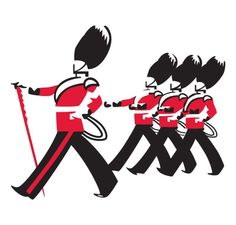 The Busby's logo of four marching guardsmen in uniform
