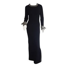 Incredible 1960s 60s Black Knit Dress Encrusted w/ Jewels Couture Quality | From a collection of rare vintage evening dresses at https://www.1stdibs.com/fashion/clothing/evening-dresses/