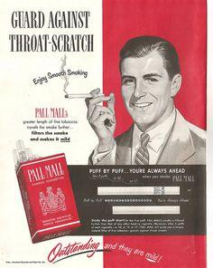 Business man smoking -  1950 Pall Mall Cigarettes Ad by Mr. Beaverhousen, via Flickr