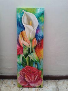 OLGA CECILIA GIRALDO G Colorful Paintings, Beautiful Paintings, Paintings Of Flowers, Flower Art Drawing, Painting & Drawing, Watercolor Flowers, Watercolor Paintings, Mini Canvas Art, Butterfly Painting