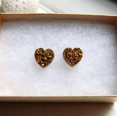 GOLD Titanium Drusy / Druzy Quartz Heart Studs on 14K Gold Filled posts Earrings. $60.00, via Etsy.