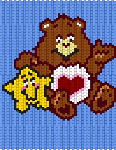 Tenderheart Bear from the Care Bears (Brick Multi Stitch Pattern) Pony Bead Patterns, Kandi Patterns, Beading Patterns, Brick Stitch Patterns, Peyote Stitch Patterns, Hexagon Quilt, Hexagons, Safety Pin Crafts, Pony Bead Crafts