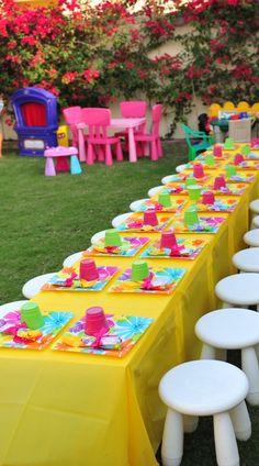 garden birthday party - Hawaiian beach theme