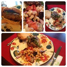 Summer Vegetarian Meal (ignore the burger!) - Grilled Ratatouille Pasta - would be good with shrimp or chicken too! Delish!