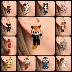 Cute kawaii animals clinging earrings handmade by GeekOnDreamland.deviantart.com on @DeviantArt